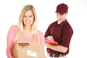 Shipping: Woman Receives Package From Delivery Man