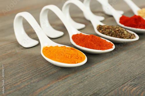 Fotobehang Kruiden 2 Different kinds of spices in spoons on wooden background
