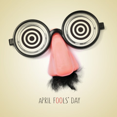 fake eyeglasses and text april fools day, with a retro effect