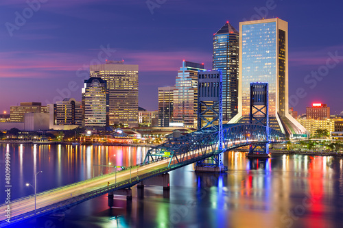 Spoed canvasdoek 2cm dik Verenigde Staten Jacksonville, Florida Skyline