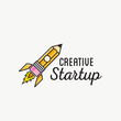 Creative Startup Rocket Abstract Vector Logo Template or Label