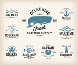 Vintage Nautical Labels or Design Elements With Retro Textures - 80100137