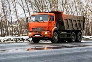 dump truck on winter road