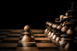 canvas print picture - Chess. White pawn against all black.
