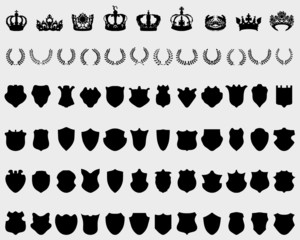 Silhouettes of crowns, shields and laurel wreaths