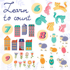 Learn to count concept set of cute graphic elements
