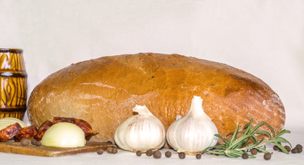 Loaf of bread with garlic