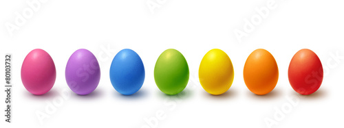 Foto op Plexiglas Egg Rainbow colored Easter eggs isolated on white