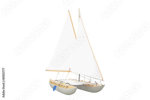 Papiers peints Fluvial Sailing ships under the white background