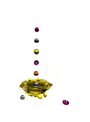 gotas de multiplas cores a cair sobre agua