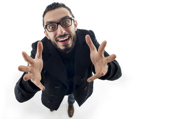 Businessman with palms up shot in wide angle