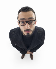 portrait of surprised man in wide angle shot