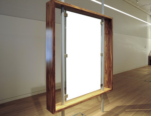 Gallery Interior with empty Banner, Banner Mockup