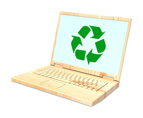 Wooden recyclable laptop isolated over white.