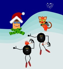 Coal and heating cartoon figures background