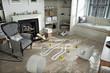 Leinwanddruck Bild - Home invasion , crime scene in a wrecked furnished home.