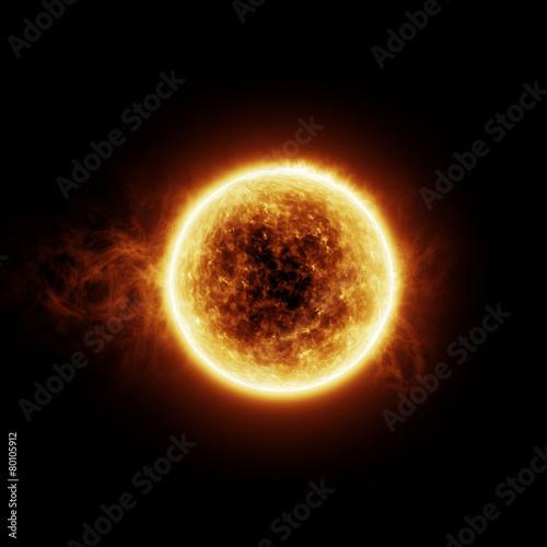 Fototapeta Burning sun on a black background