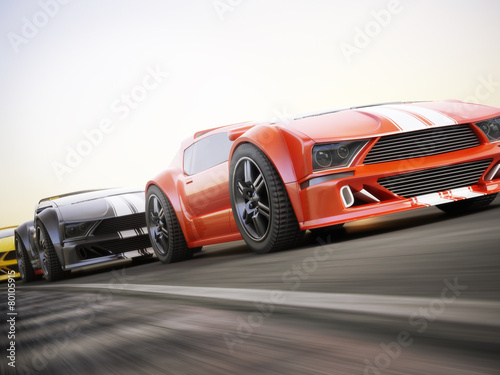 Fotobehang Motorsport The race , Exotic sports cars racing with motion blur