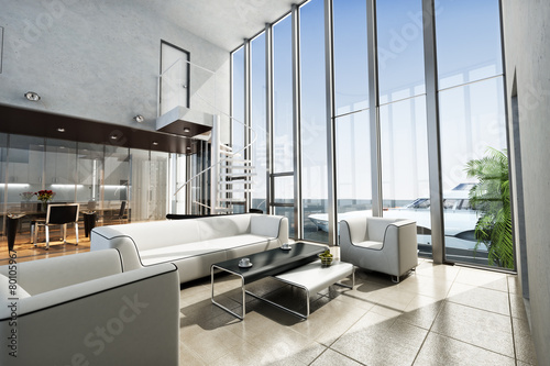Luxury estate interior with ocean view and yacht. - 80105967