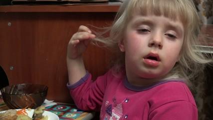Little Girl Fell Asleep at the Table Eating Potato. 4k Ultra HD