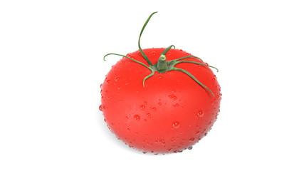 Fresh red tomato isolated on white background, close-up