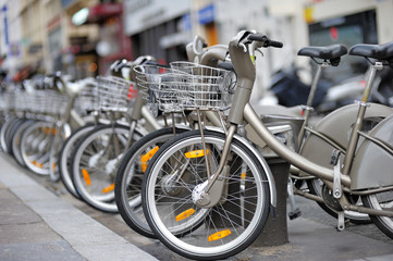 Row of city bikes for rent