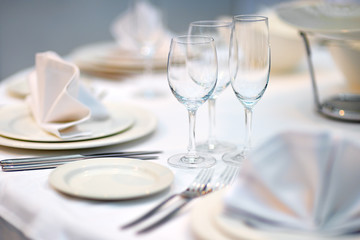 Table set for dinner or reception