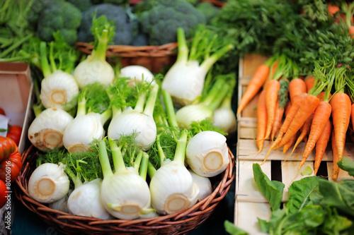 Keuken foto achterwand Boodschappen Fresh healthy bio fennel and carrots