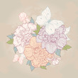 Background with peony and butterfly