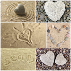 Collage of images with different hearts. Summer concept