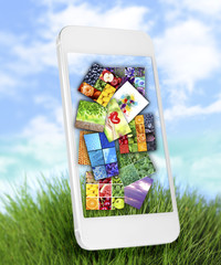 Touch screen mobile phone with beautiful images