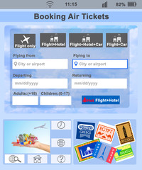 Screen interface. Booking air tickets
