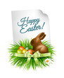 Happy Easter background. Colorful easter eggs and chocolate bunn