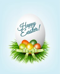 Happy Easter background. Colorful easter eggs on green grass. Ve