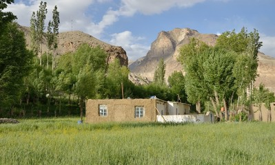 Small settlement in Pamir, Central Asia.