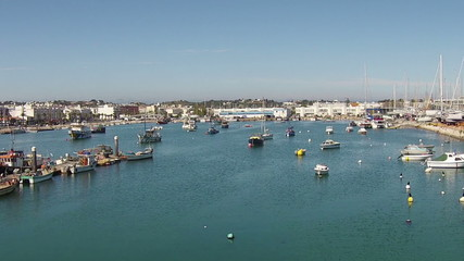 Aerial from the harbor from Lagos in Portugal