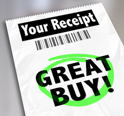 Great Buy Receipt Invoice Shopping Store Clearance Discount Deal