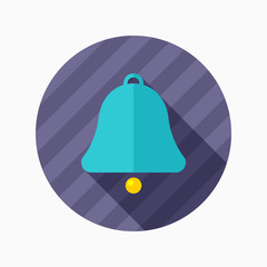 Bell flat icon with long shadow on color background , vector ill