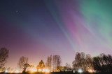 Fototapeta Beautiful panoramic picture of northern lights aurora borealis