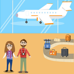 Hipster man travel with airplane