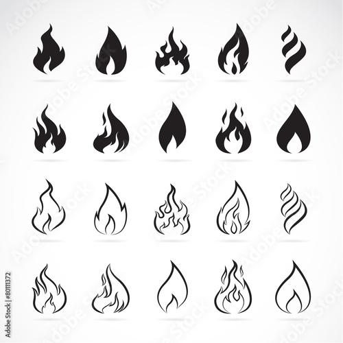 Wektorowy ustawiający płomieni symbole na białym tle
