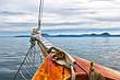 Sailing on a classic wooden sailboat