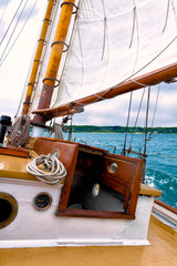 Sailing on a classic wooden yacht
