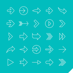 Thin linear arrows icons set vector illustration