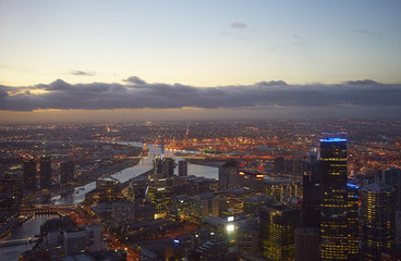 aerial view of Melbourne at evening