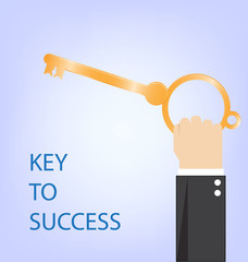 key to success,hand of businessman with golden key,vector illust