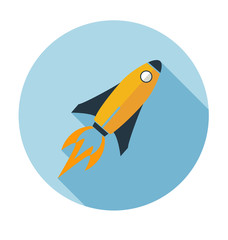 rocket vector icon Flat style with long shadows