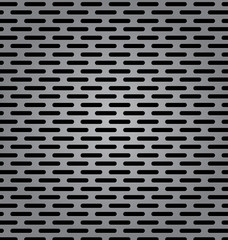 Silver metal background with elongated grill slots and light ref