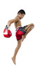thai boxer with thai boxing action - 80113556
