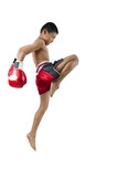 thai boxer with thai boxing action